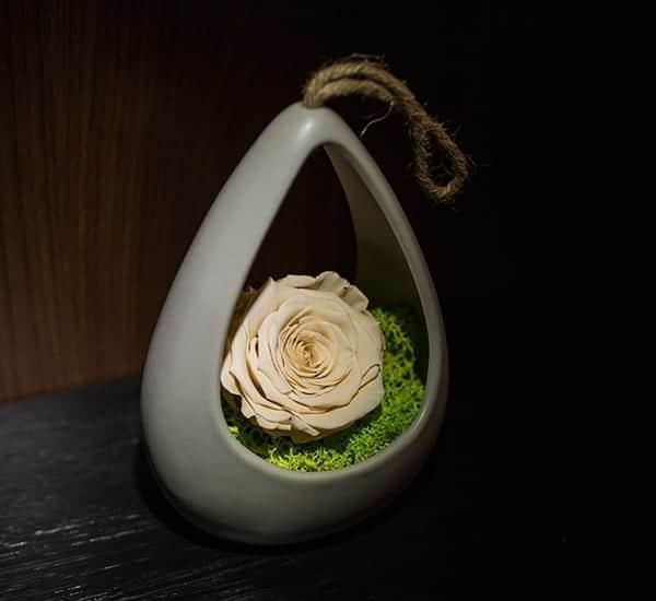 Trandafir prezervat alb