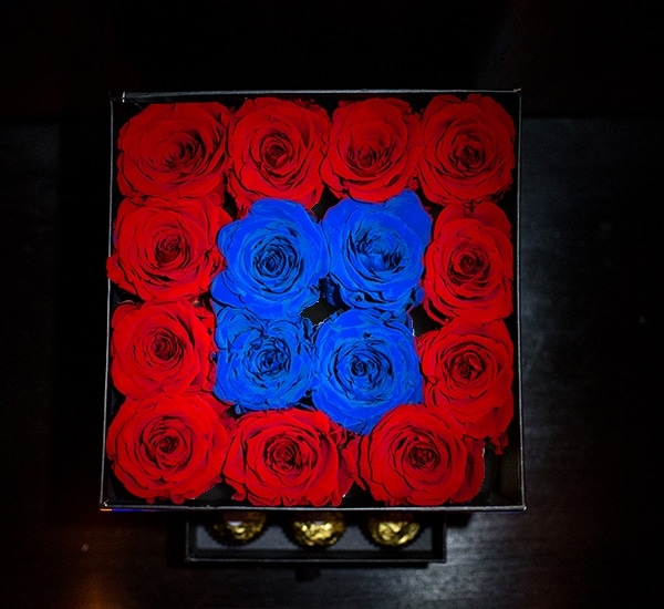 Cutie patrata rosu cu albastru2
