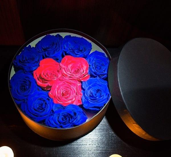 rotund rosu cu albastru